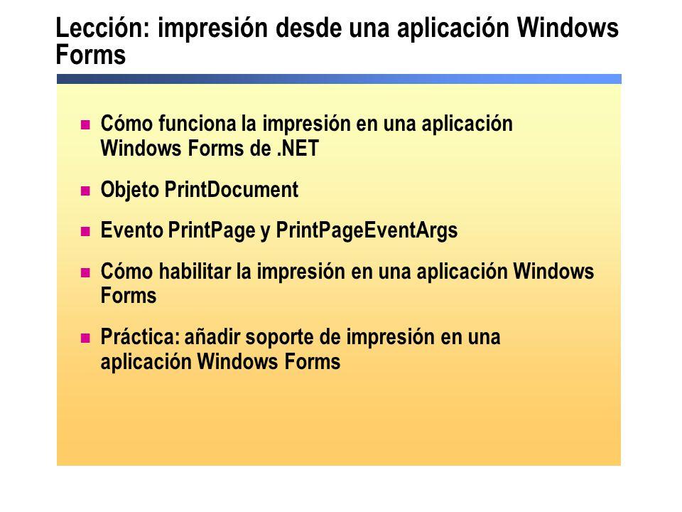 Lección: impresión desde una aplicación Windows Forms