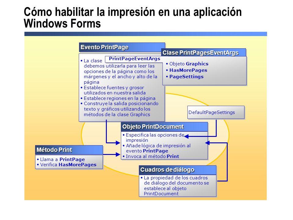 Cómo habilitar la impresión en una aplicación Windows Forms