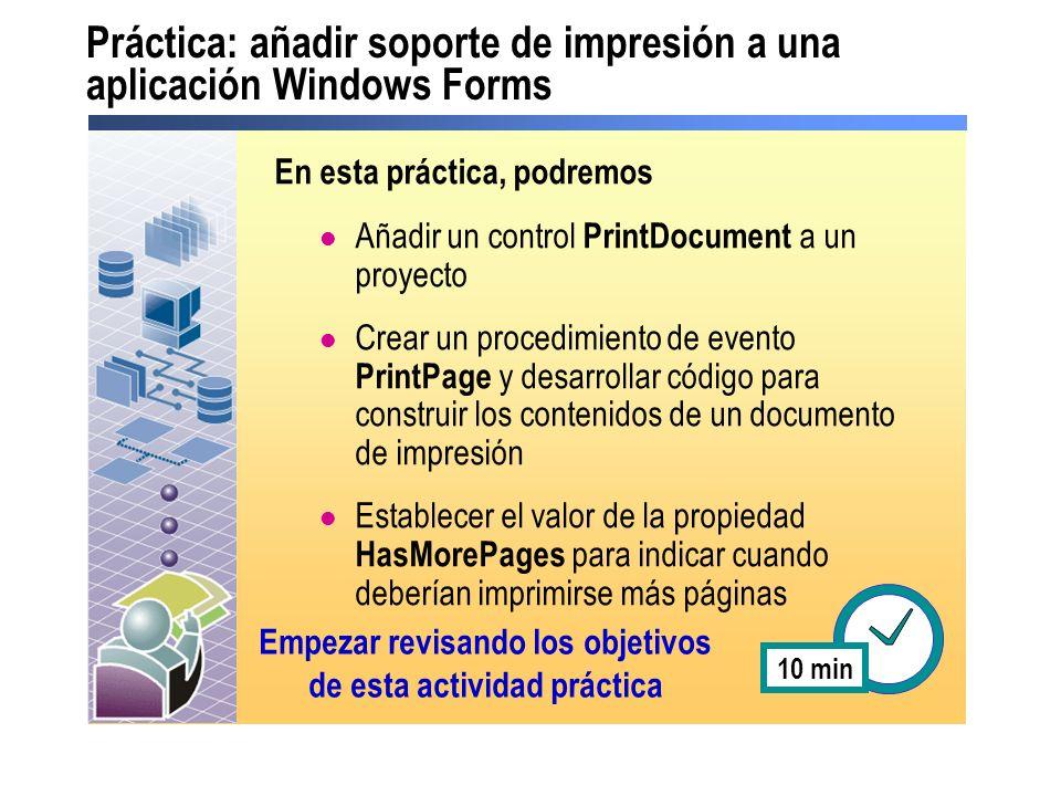 Práctica: añadir soporte de impresión a una aplicación Windows Forms