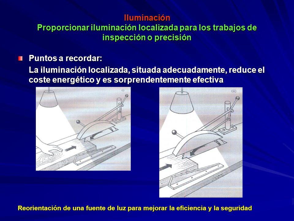 Iluminación Proporcionar iluminación localizada para los trabajos de inspección o precisión
