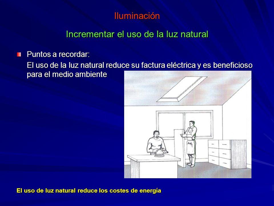 Iluminación Incrementar el uso de la luz natural