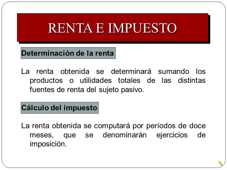RENTA E IMPUESTO Determinación de la renta