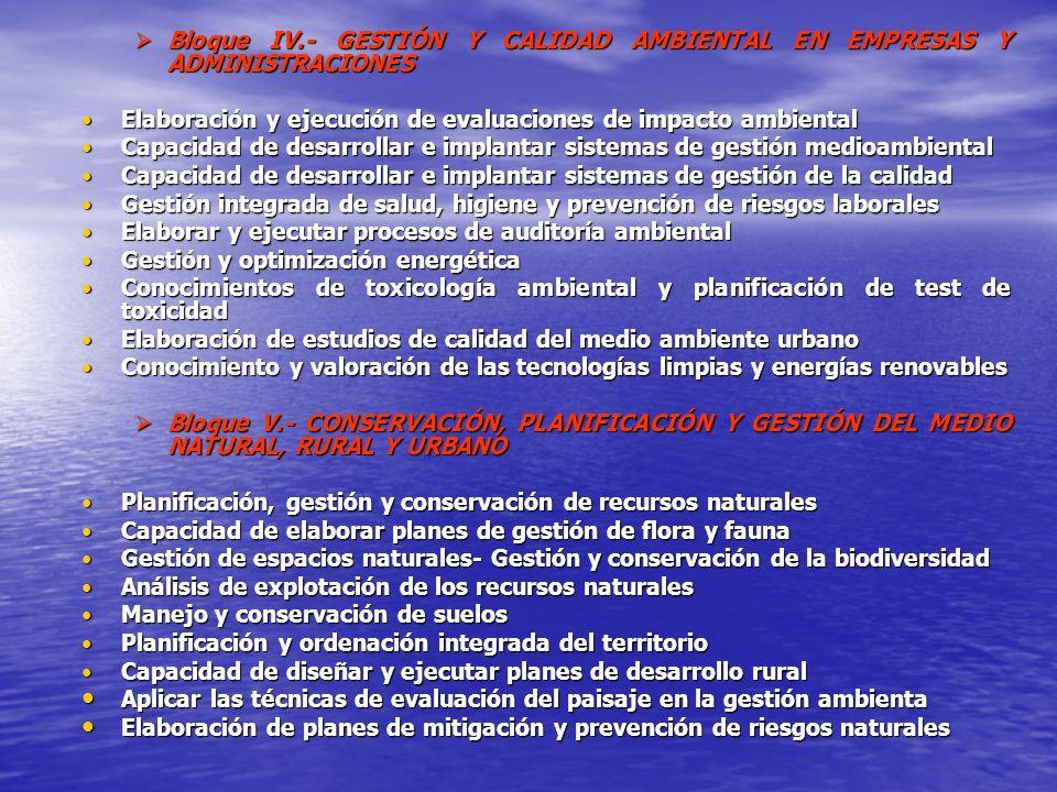 Bloque IV.- GESTIÓN Y CALIDAD AMBIENTAL EN EMPRESAS Y ADMINISTRACIONES