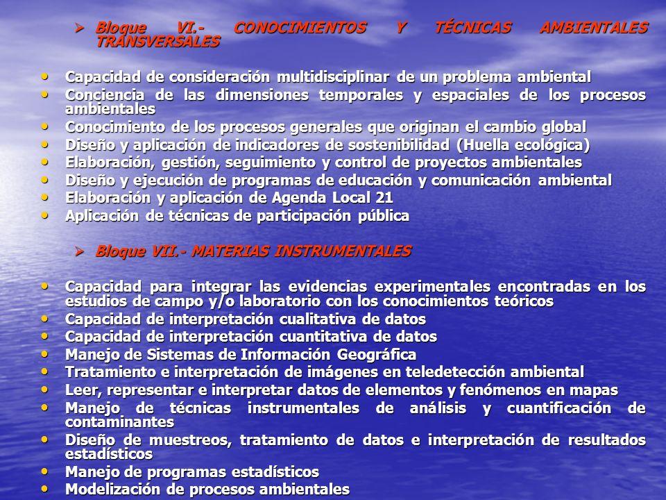 Bloque VI.- CONOCIMIENTOS Y TÉCNICAS AMBIENTALES TRANSVERSALES
