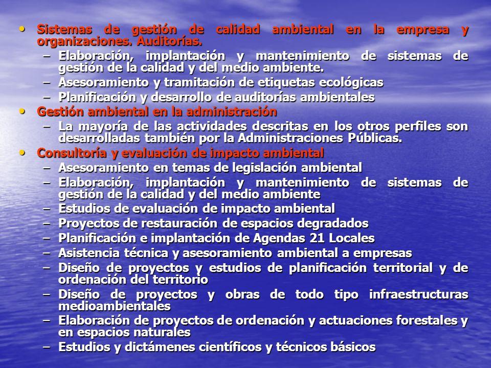 Sistemas de gestión de calidad ambiental en la empresa y organizaciones. Auditorías.
