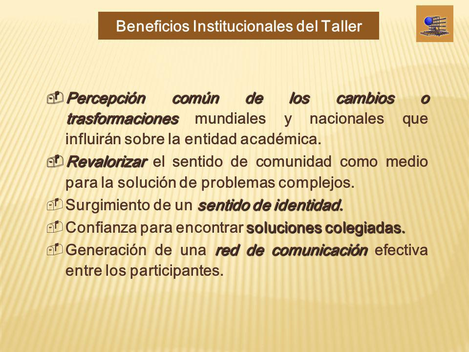 Beneficios Institucionales del Taller