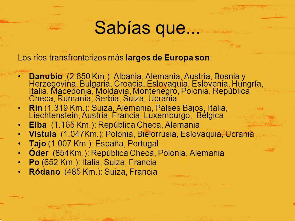 Sabías que... Los ríos transfronterizos más largos de Europa son: