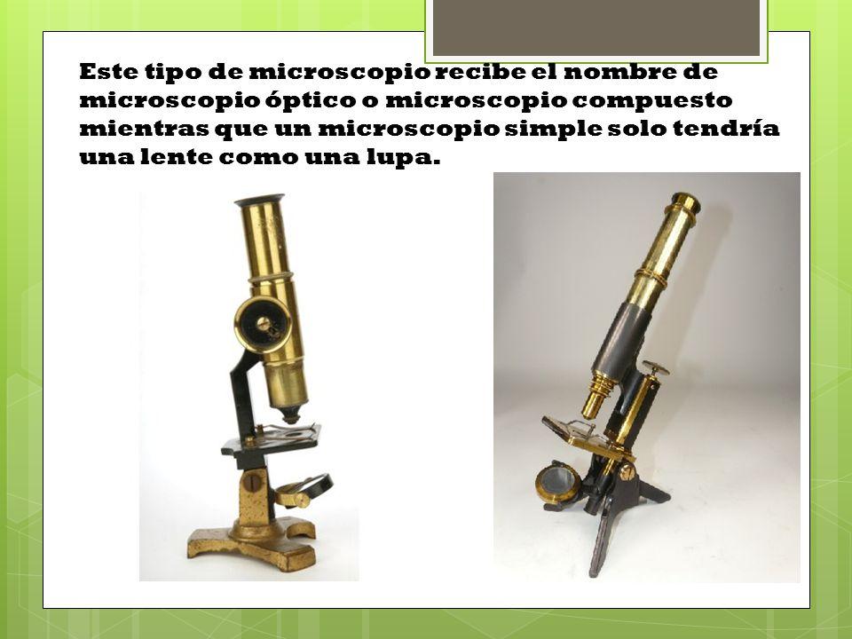 Este tipo de microscopio recibe el nombre de microscopio óptico o microscopio compuesto mientras que un microscopio simple solo tendría una lente como una lupa.