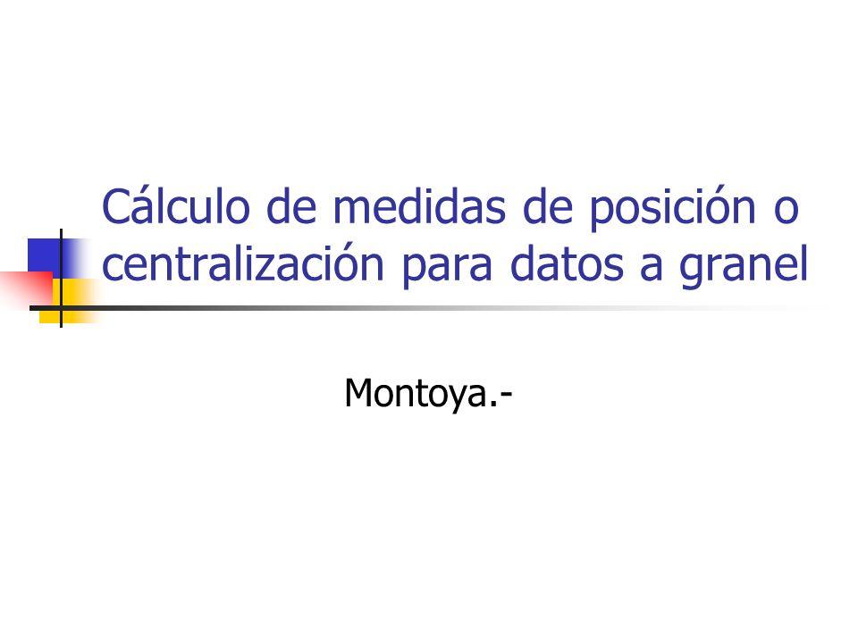 Cálculo de medidas de posición o centralización para datos a granel