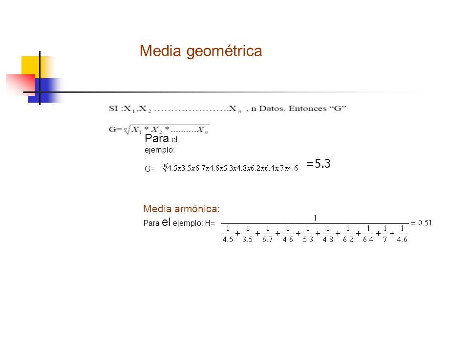 Media geométrica Para el ejemplo: =5.3 Media armónica: : G=