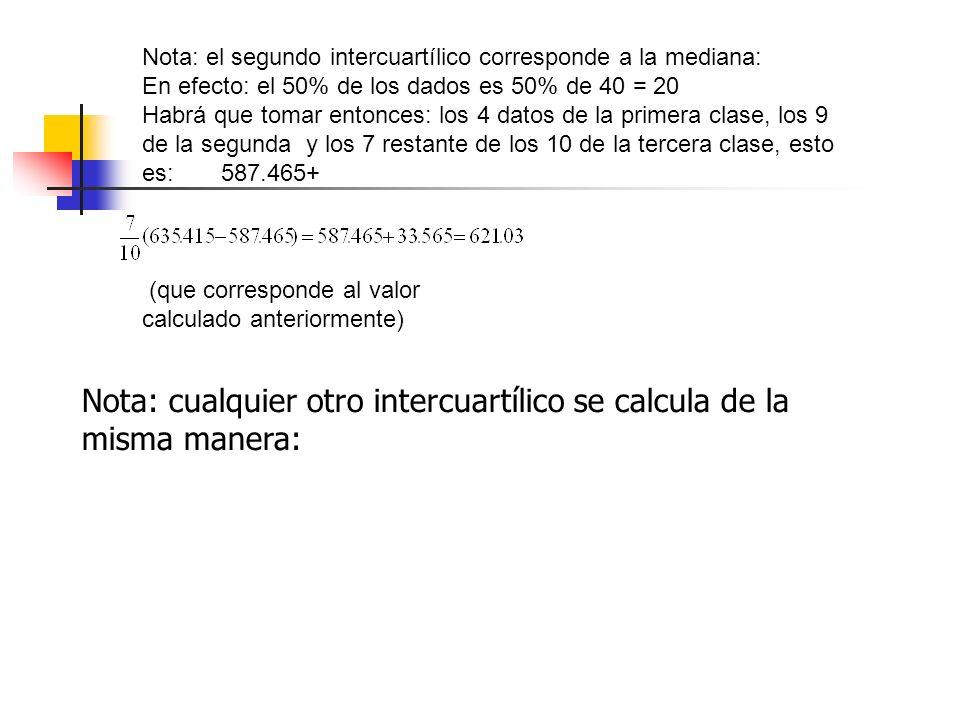 Nota: cualquier otro intercuartílico se calcula de la misma manera: