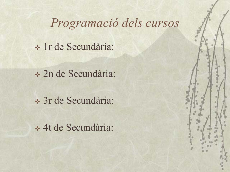 Programació dels cursos