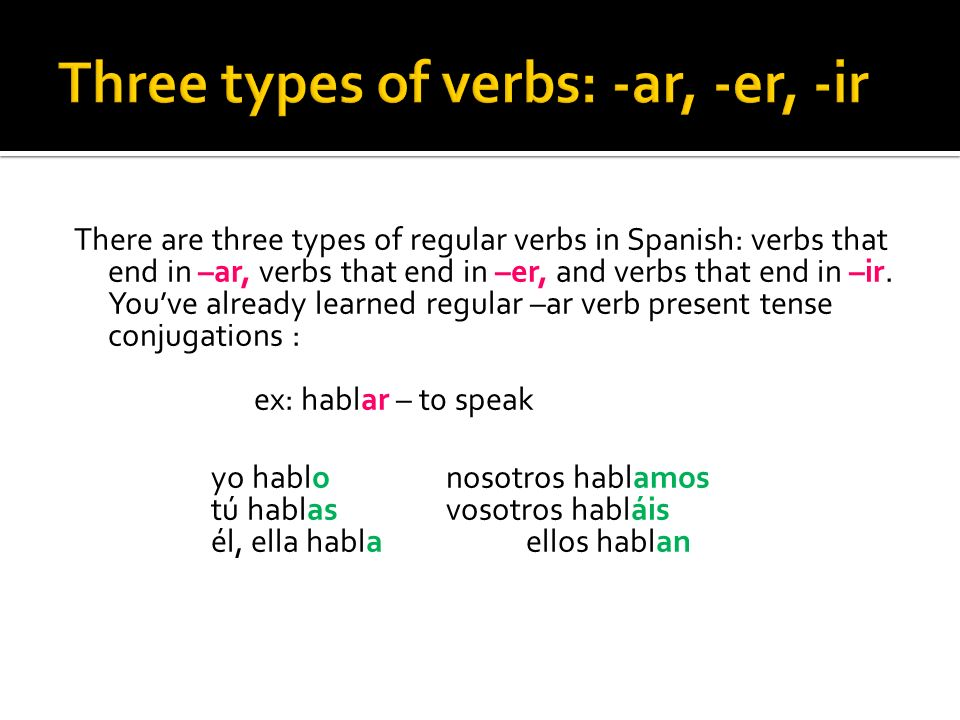 Three types of verbs: -ar, -er, -ir