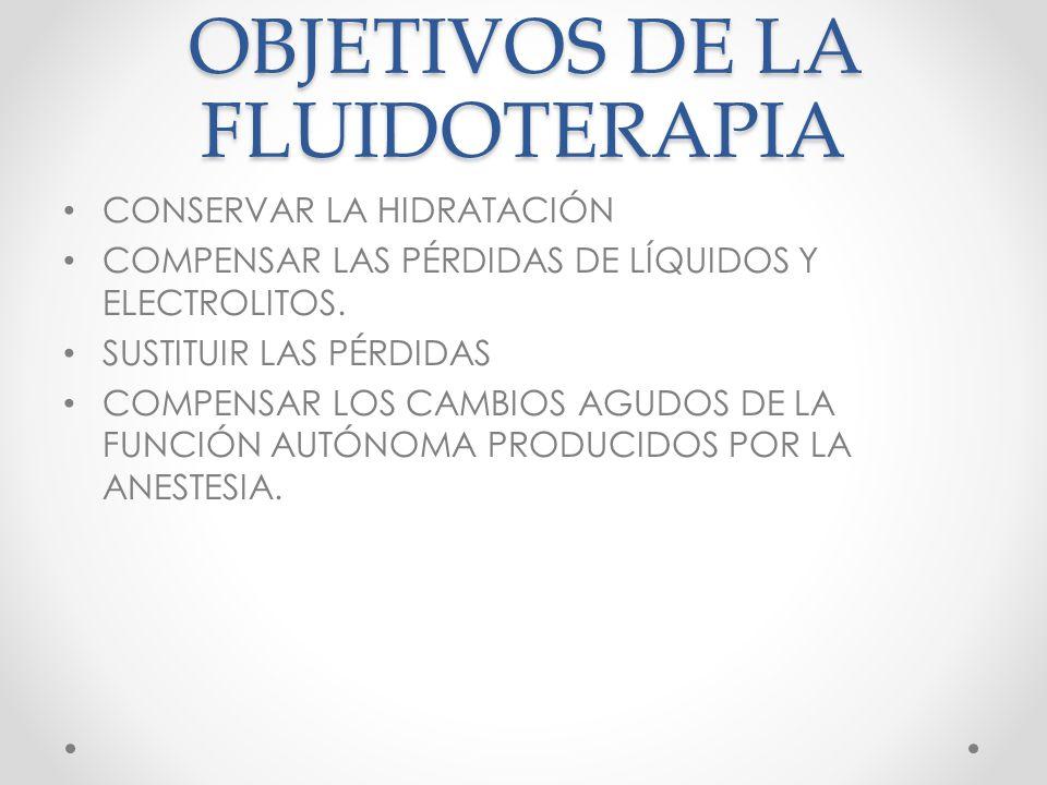 OBJETIVOS DE LA FLUIDOTERAPIA