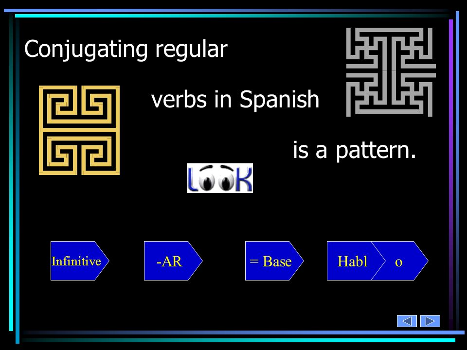 Conjugating regular verbs in Spanish is a pattern. -AR = Base Habl o