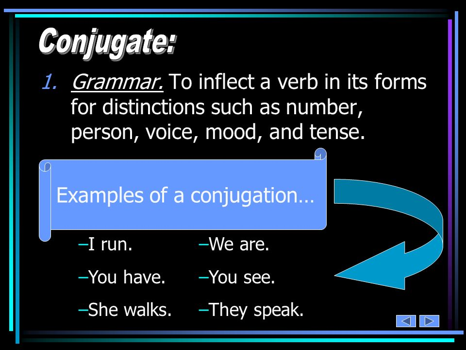 Examples of a conjugation…