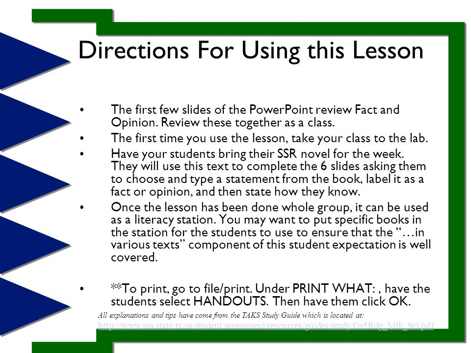 Directions For Using this Lesson