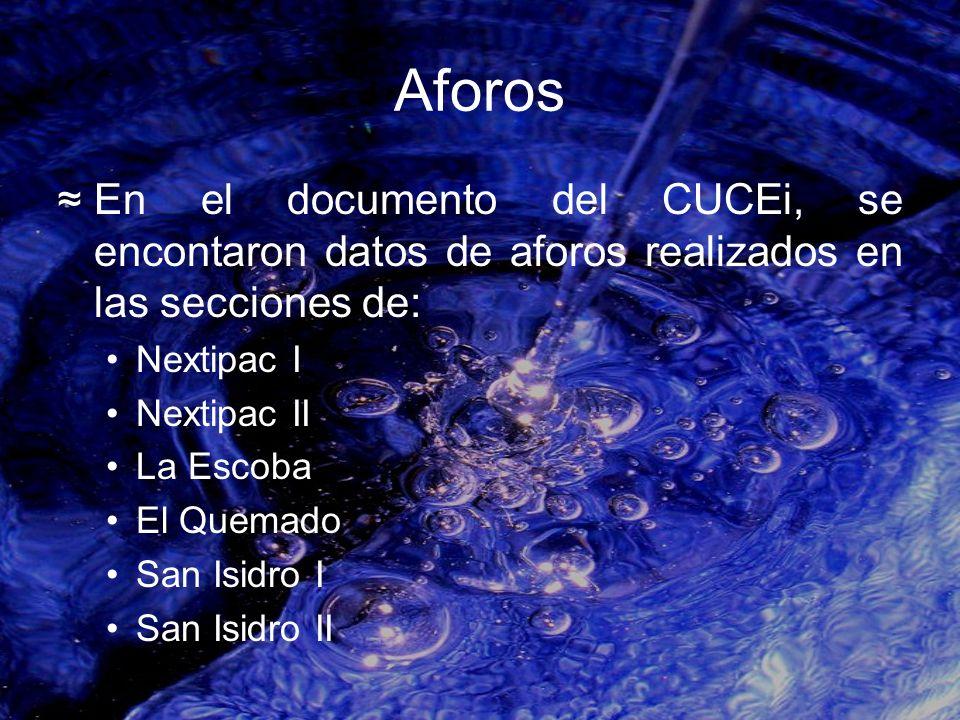 Aforos En el documento del CUCEi, se encontaron datos de aforos realizados en las secciones de: Nextipac I.