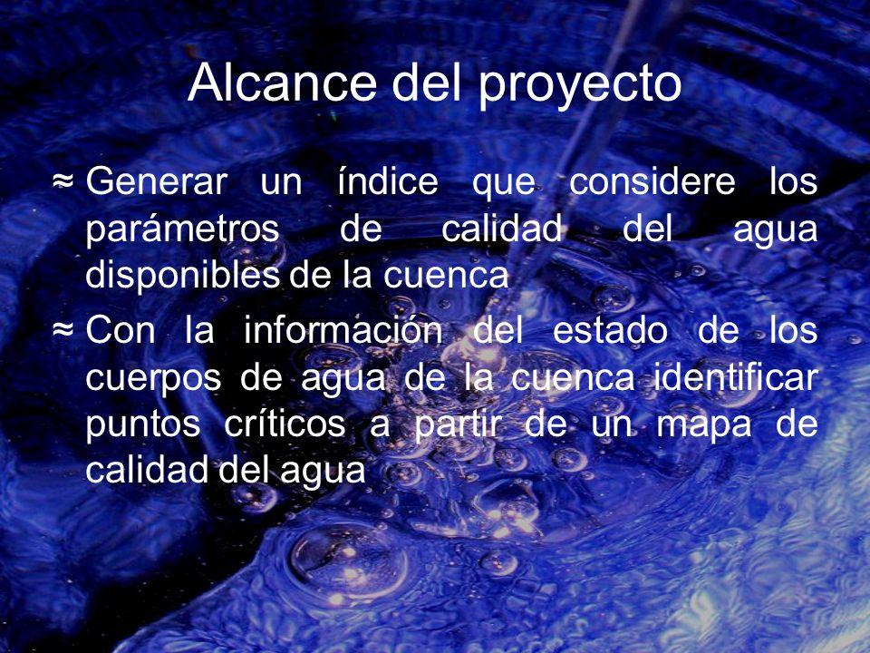 Alcance del proyecto Generar un índice que considere los parámetros de calidad del agua disponibles de la cuenca.