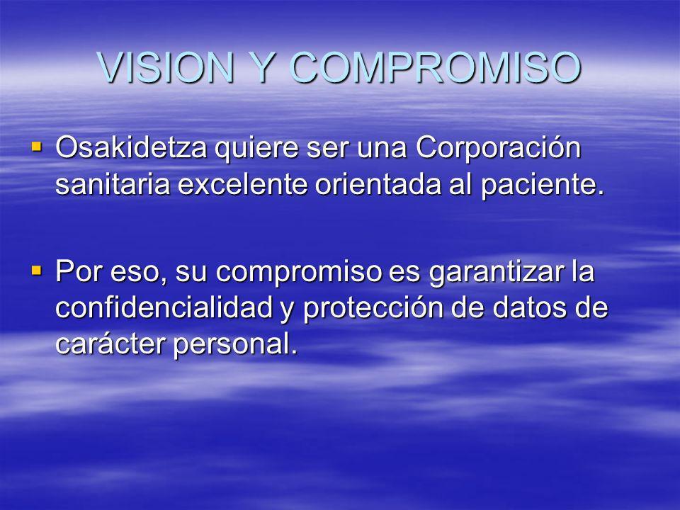 VISION Y COMPROMISO Osakidetza quiere ser una Corporación sanitaria excelente orientada al paciente.