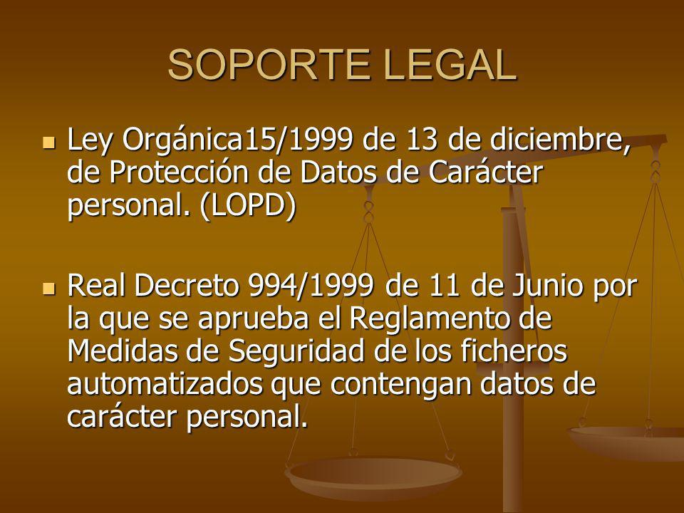 SOPORTE LEGAL Ley Orgánica15/1999 de 13 de diciembre, de Protección de Datos de Carácter personal. (LOPD)