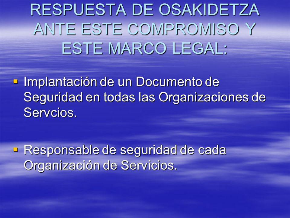RESPUESTA DE OSAKIDETZA ANTE ESTE COMPROMISO Y ESTE MARCO LEGAL: