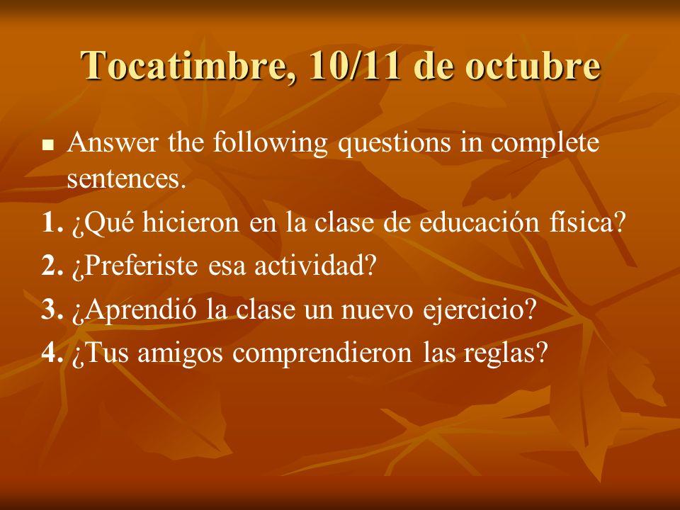 Tocatimbre, 10/11 de octubre