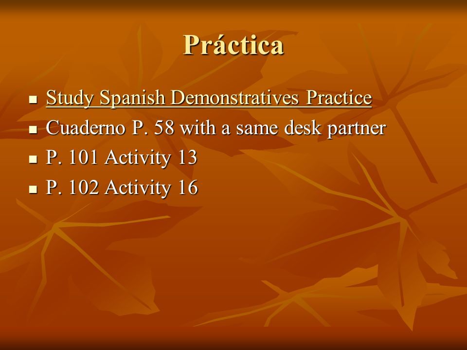 Práctica Study Spanish Demonstratives Practice