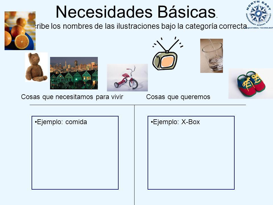 Necesidades Básicas. Escribe los nombres de las ilustraciones bajo la categoría correcta.