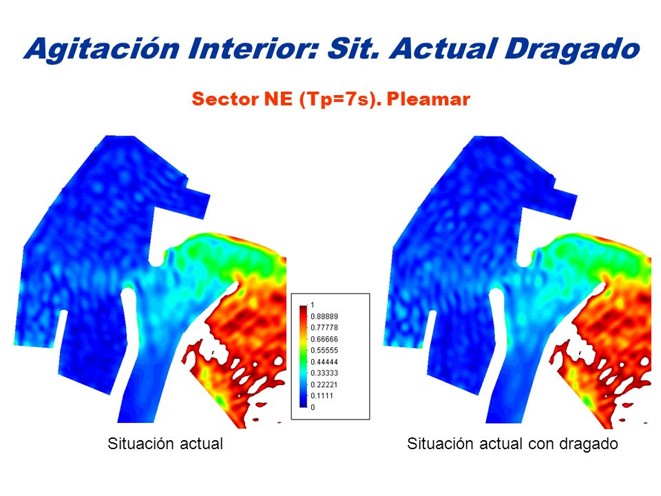 Agitación Interior: Sit. Actual Dragado Sector NE (Tp=7s). Pleamar