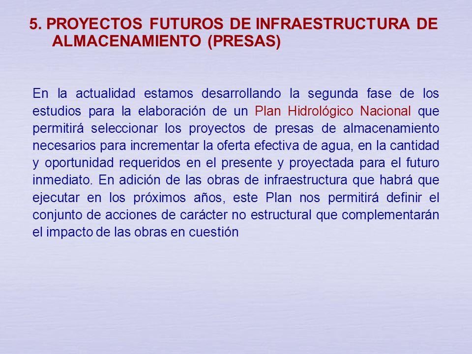 5. PROYECTOS FUTUROS DE INFRAESTRUCTURA DE ALMACENAMIENTO (PRESAS)