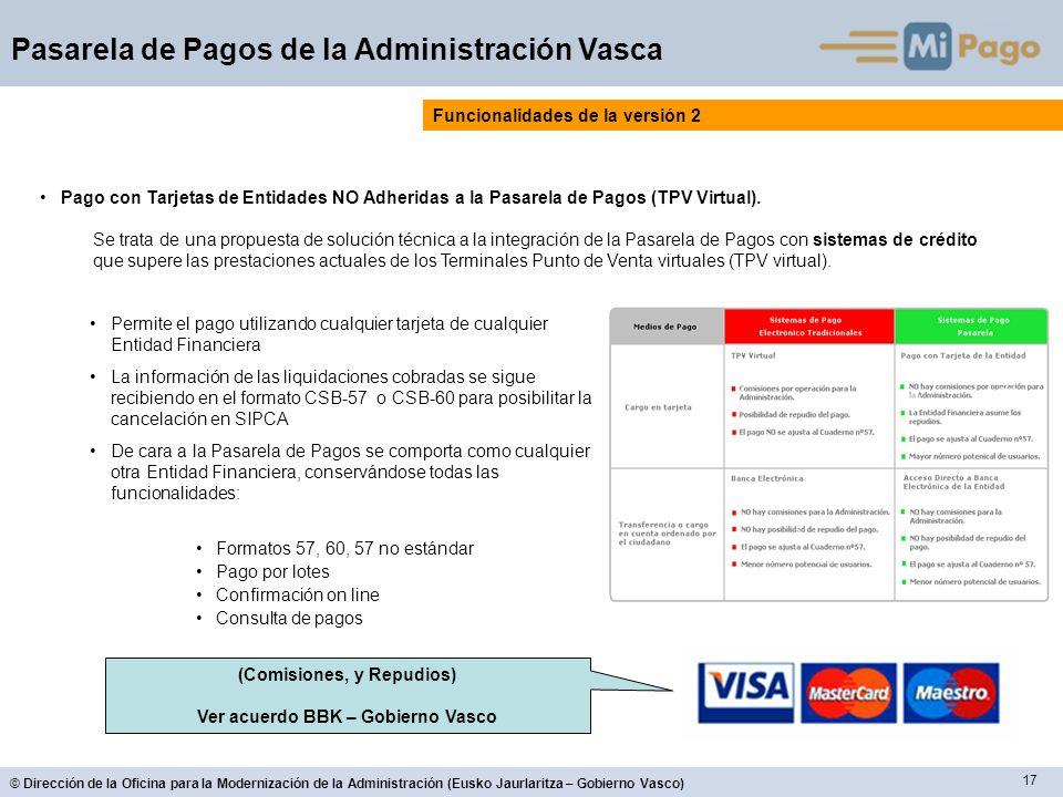 (Comisiones, y Repudios) Ver acuerdo BBK – Gobierno Vasco