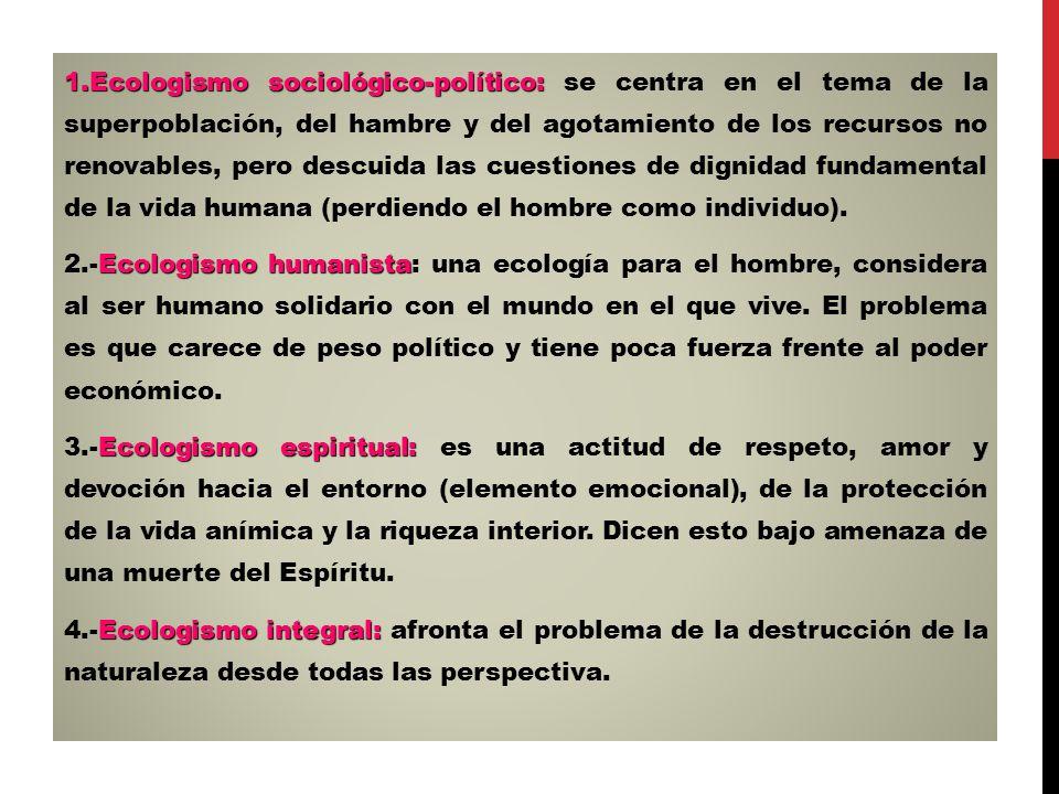 Ecologismo sociológico-político: se centra en el tema de la superpoblación, del hambre y del agotamiento de los recursos no renovables, pero descuida las cuestiones de dignidad fundamental de la vida humana (perdiendo el hombre como individuo).