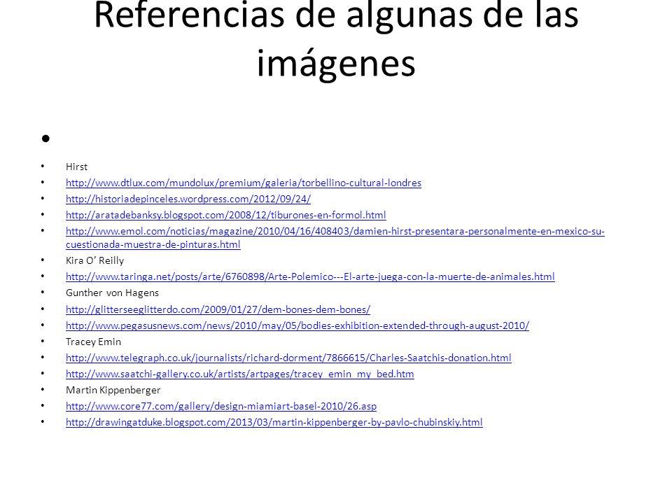 Referencias de algunas de las imágenes