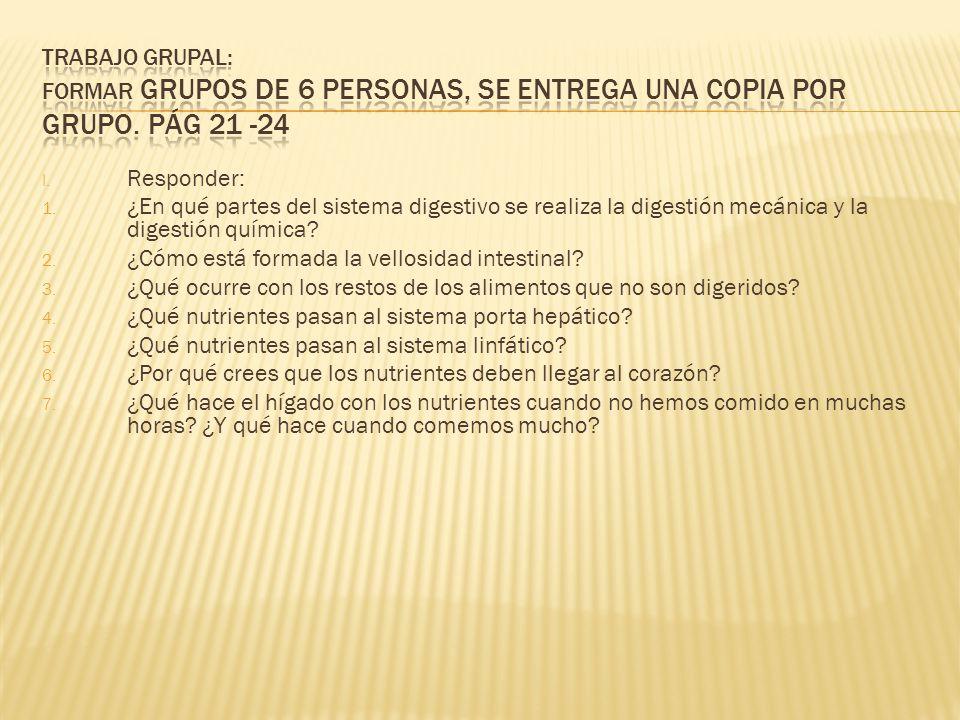 TRABAJO GRUPAL: Formar grupos de 6 personas, se entrega una copia por grupo. Pág 21 -24