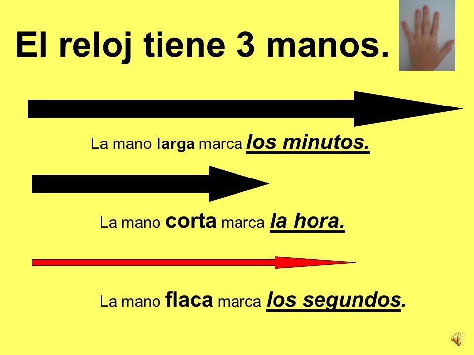 El reloj tiene 3 manos. La mano larga marca los minutos.