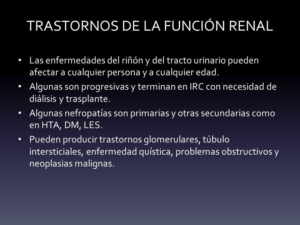 TRASTORNOS DE LA FUNCIÓN RENAL