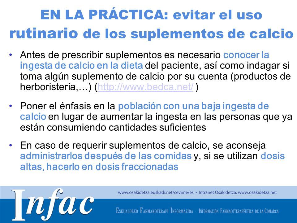 EN LA PRÁCTICA: evitar el uso rutinario de los suplementos de calcio