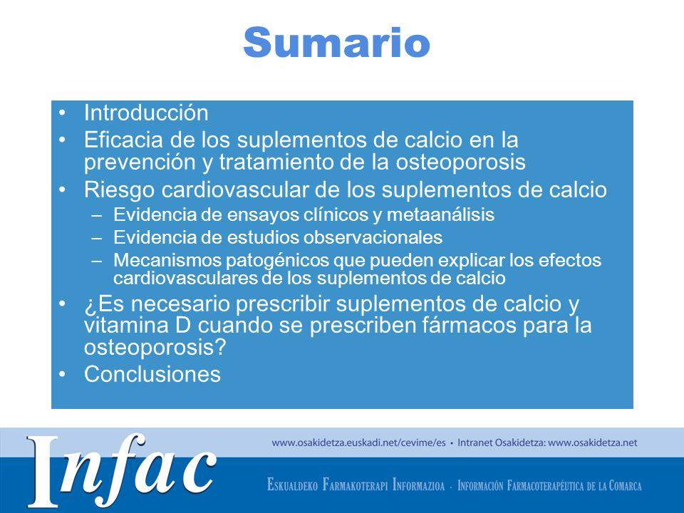 Sumario Introducción. Eficacia de los suplementos de calcio en la prevención y tratamiento de la osteoporosis.