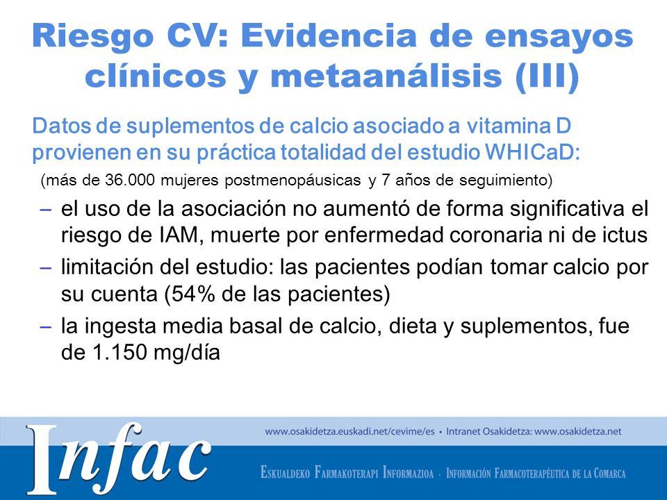 Riesgo CV: Evidencia de ensayos clínicos y metaanálisis (III)