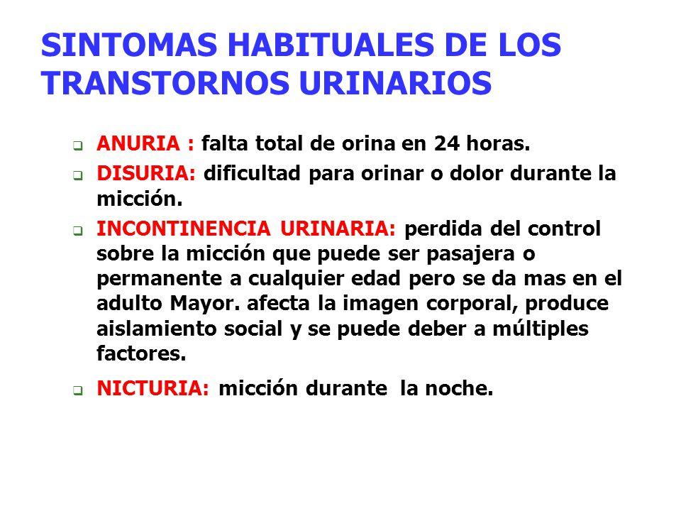 SINTOMAS HABITUALES DE LOS TRANSTORNOS URINARIOS
