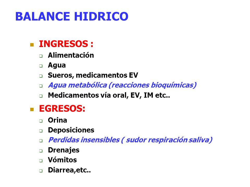 BALANCE HIDRICO INGRESOS : EGRESOS: Alimentación Agua