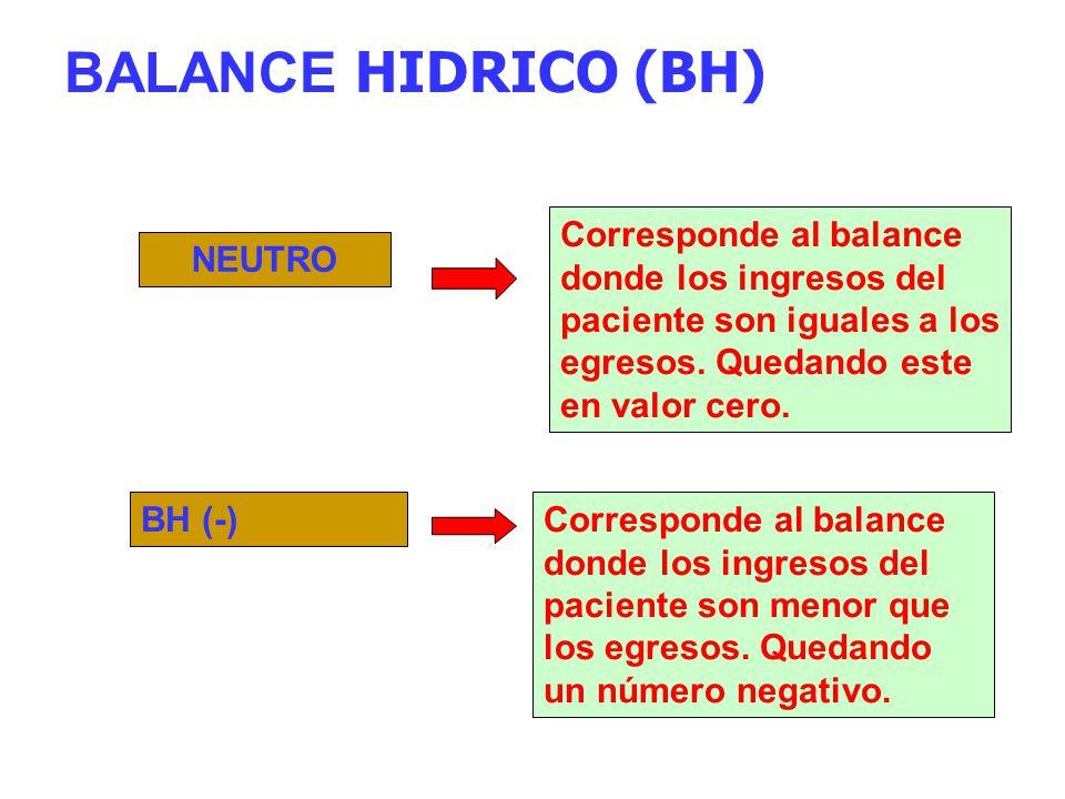 BALANCE HIDRICO (BH) Corresponde al balance donde los ingresos del paciente son iguales a los egresos. Quedando este en valor cero.