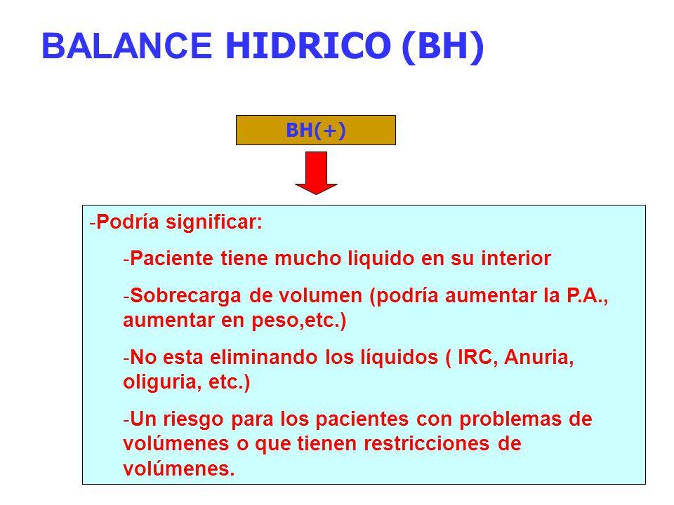 BALANCE HIDRICO (BH) Podría significar: