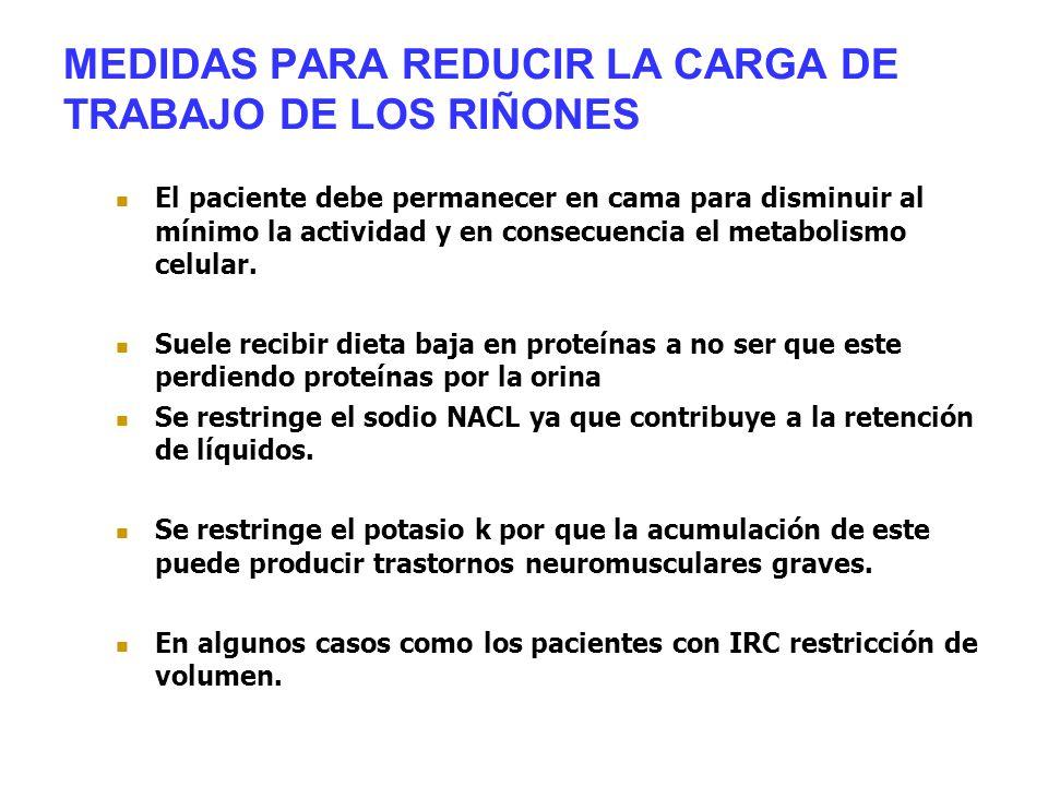MEDIDAS PARA REDUCIR LA CARGA DE TRABAJO DE LOS RIÑONES