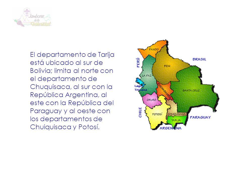 El departamento de Tarija está ubicado al sur de Bolivia; limita al norte con el departamento de Chuquisaca, al sur con la República Argentina, al este con la República del Paraguay y al oeste con los departamentos de Chuiquisaca y Potosí.