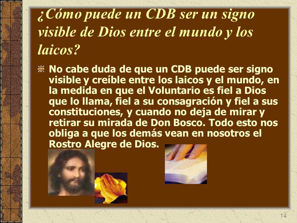 ¿Cómo puede un CDB ser un signo visible de Dios entre el mundo y los laicos