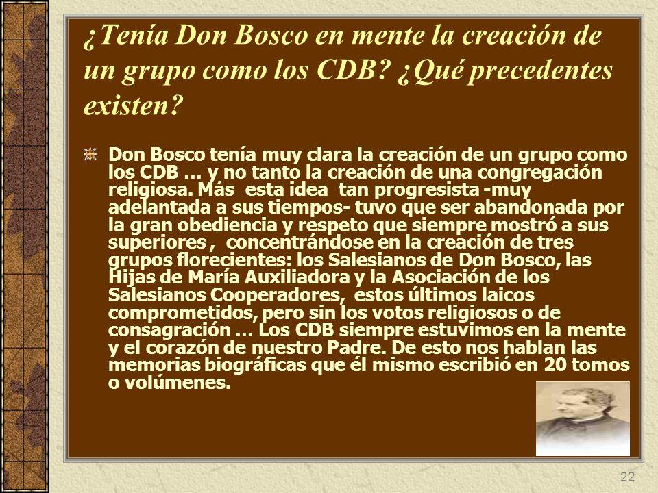 ¿Tenía Don Bosco en mente la creación de un grupo como los CDB