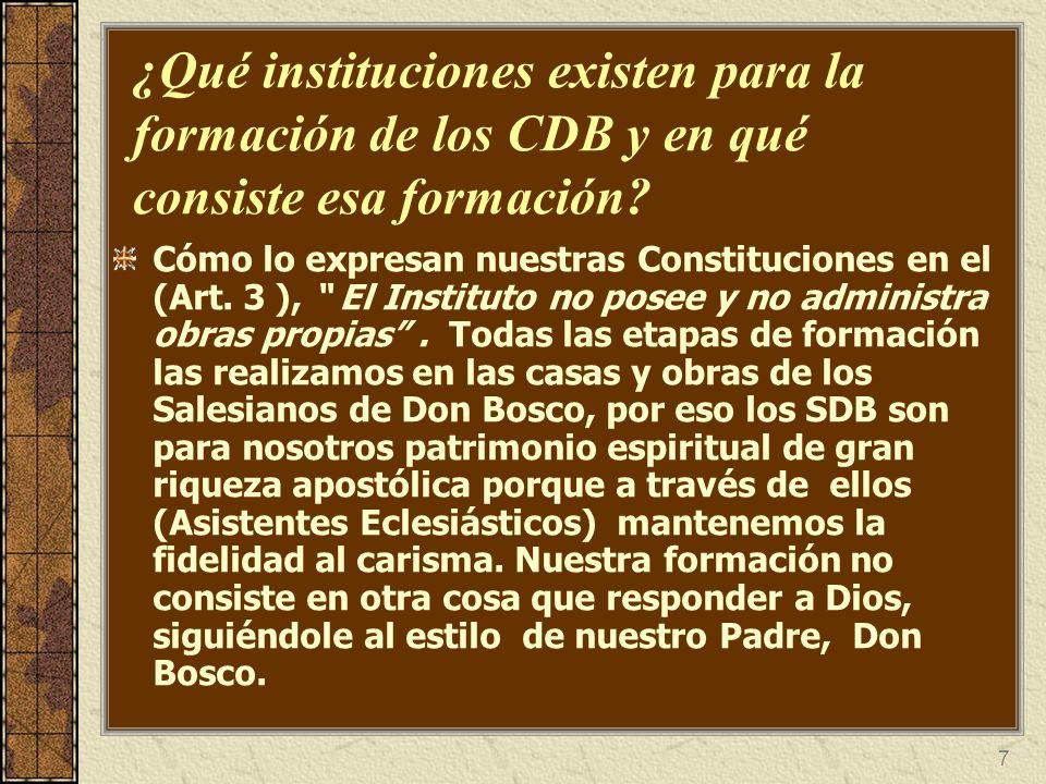 ¿Qué instituciones existen para la formación de los CDB y en qué consiste esa formación