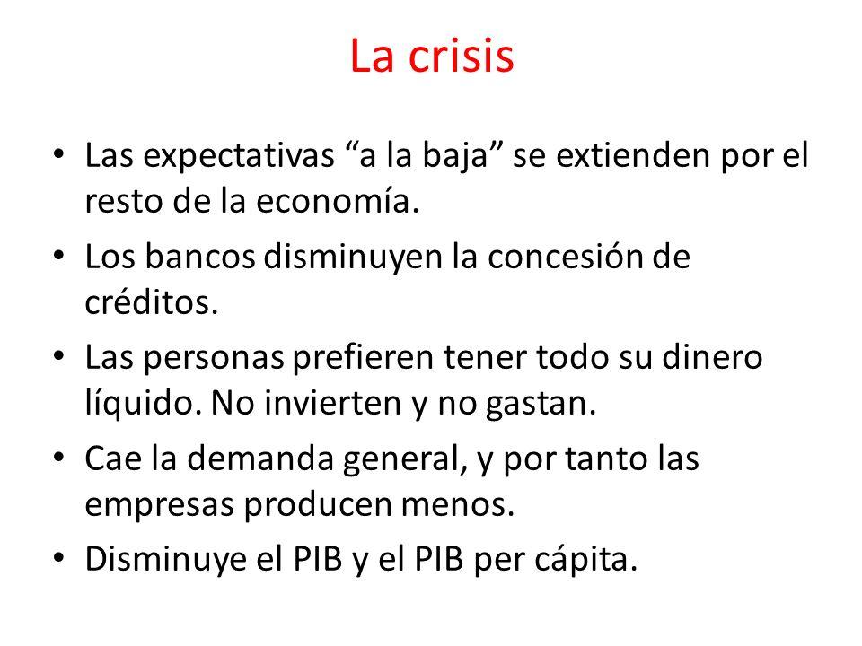 La crisis Las expectativas a la baja se extienden por el resto de la economía. Los bancos disminuyen la concesión de créditos.
